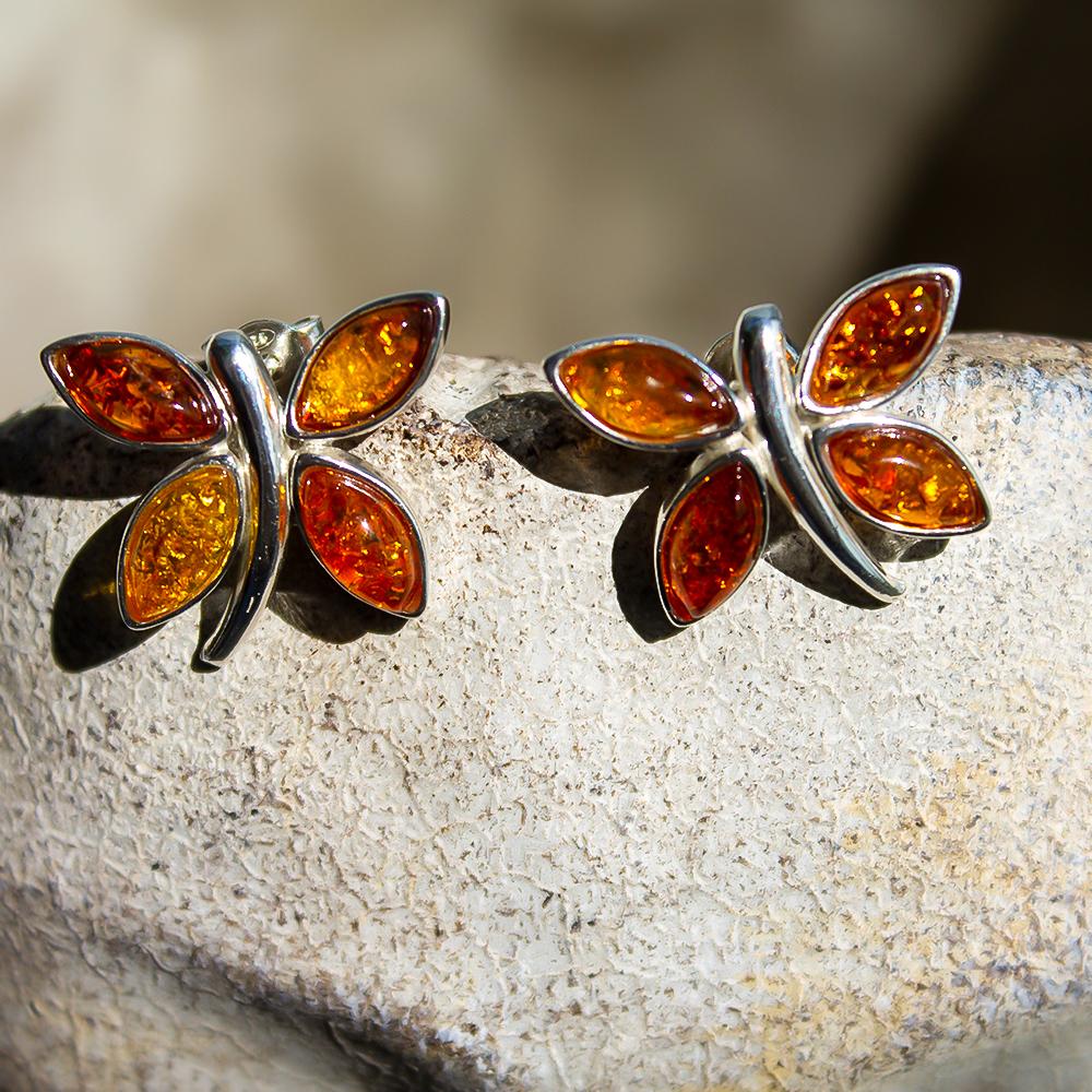 Kolczyki bursztynowe Motyle